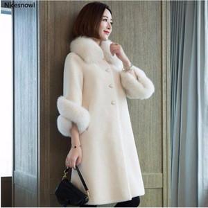 High Quality Winter Women Coat Pure Color Faux Fur Collars Female Sheepskin Coats Cashmere Coats Plus Size