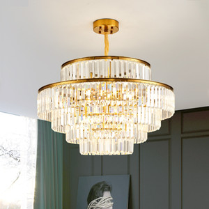 Modern LED Luxury Round Golden Crystal Chandelier Lighting For Living Room Dining Room Lamp Bedroom Indoor Light Fixtures