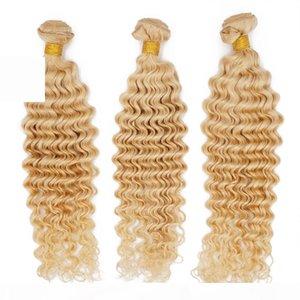 Remy Human Hair Tecer Deep Onda Peruana Virgem Bundles 613 Loira para Mulheres Pretas Extensão Cheap Cabelo QueenLita 9A Diamond Grade
