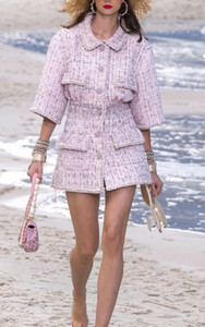 Chic women's brand new High quality tweed dress 2020 Spring Autumn Fashion women half sleeves dress B923