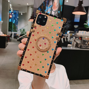 Heart shape and rhinestones Phone Cases For iPhone 12 11 Pro Max X XS SE2 8 7 PU leather Cover for Samsung S20 Ultra 10 NOTE 10 20 case