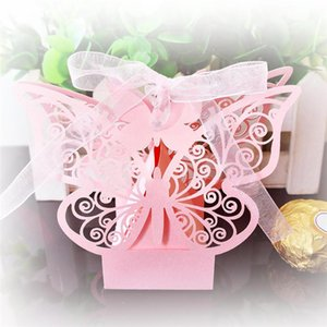 10pcs Laser Cut Butterfly Gift Boxes Folding Candy Box Baptism Baby Shower Favor Box Wedding Birthday Party Supplies
