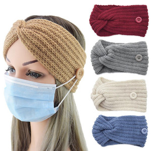 Button Knitted Headband 36 Colors Wool Headwear Crochet Twist Headband Winter Warm Cross Ear Protection Hair Accessories DDA706