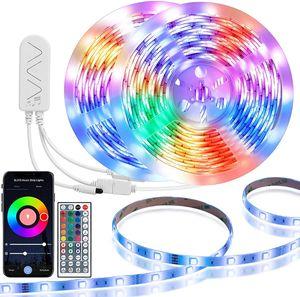 Luz de tira LED RGB 5050 Flexible LED tira de luz 10m 15m 20m 12V LED fita + adaptador de energia + controlador de música Bluetooth