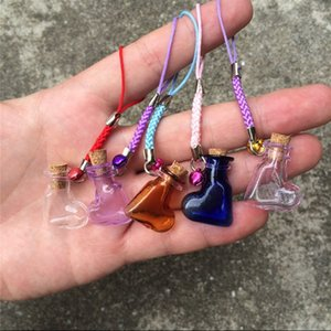 Heart Shaped Small Glass Bottles with Braided Nylon Rope Keychains DIY Mini Perfume Jars Vials Mixed Color 7pcs