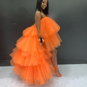 Orange Hi Low Cocktail Party Dresses Tiered Ball Gown fadas jupe African Formal Prom Dress Chic Puffy Skirt Tutu Homecoming Gowns Cheap