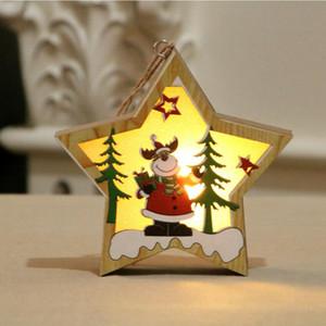 크리스마스 나무 장식 나무 오각형 발광 산타 눈사람 사슴 펜던트 크리스마스 나무 장식 CYZ2831 60PCS 빛나는