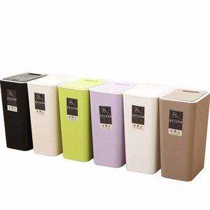 Calidad espesado plástico Papeleras Presión de compresión cubierta Aseo Inicio Sala de estar Decoración grande de basura 8L / 12L J4eK #
