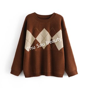 Y2k Autumn Winter Korean Argyle Thi Loose Oversized O-ne Pullovers Knitted Sweaters Coat Tops Woman Jumpers Jersey Mujer