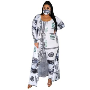 Dollar Bill Pattern Womens Outsuits Jumpsuits Plus O-neck Slim Women Clothing 2 Pieces Sleeveless Rompers Sexy Sets