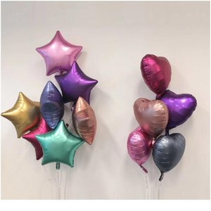 New 10pcs 18inch Chrome Metallic Heart Star Round Helium Foil Balloons Baby 1st Birthday Party Supplies Wedding Decor Ai sqcRLA