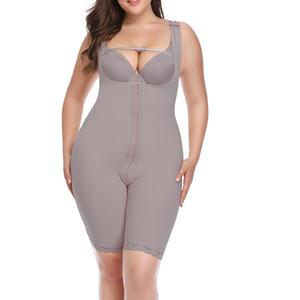 Frauen Abnehmen Bodysuit Kolben-Heber öffnen Schrittgurt Modelling Strap Bodyshaper Kurven shaperwear Plus Size 6XL Grau Beige Unterwäsche