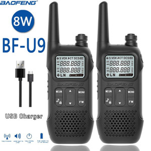 2PCS BAOFENG BF-U9 8W Portable MINI Walkie Talkie With Handheld Hotel Civilian Radio Comunicacion Ham HF Transceiver