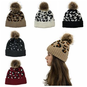 Leopard Beanie Pompom Skullies Beanies Hats Knitted Casual Warm Cap Bonnet Winter Women Girls Headwear Accessories 5 Colors BT5953