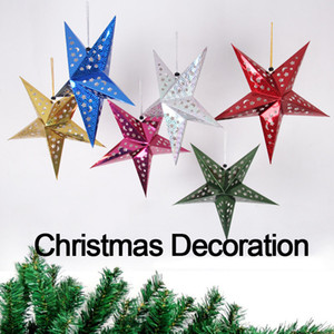 30cm Christmas decoration Stereoscopic laser perforated paper pentagram Five - pointed star pendant shopping mall hotel ceiling decoration
