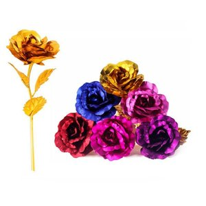 Fashion 24k Gold Foil Plated Rose Creative Gifts Lasts Forever Rose For Lover's Wedding Valentine Day Gifts Home Decoration Flor
