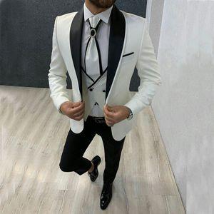 Brand New Groomsmen Shawl Lapel Groom Tuxedos White and Black Men Suits Wedding Best Man 3 Pieces Blazer ( Jacket+Pants+Tie+Vest ) L617