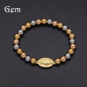 colore Hip hop preservare l'oro placcato di protezione di Gesù Beads semplice color oro gioielli Hip hop preservare protezione braccialetto braceletplated