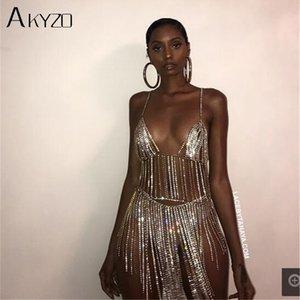 Akyzo Sexy Metal Catena in argento Silver Strass Donne Summer Tassel Paillettes Sparkling 2 Due pezzi Dress Nightclub di lusso Dress T200623