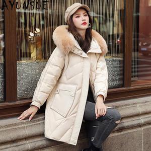 AYUNSUE Winter-Daunenjacke Frauen Echtpelzkragen mit Kapuze Parkas Mode-Qualitäts-Frauen Mäntel große Tasche Weibliche Jacke