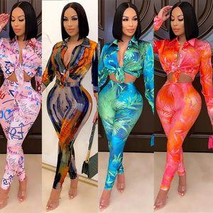 Zkyzwx Fall Gravata Tintura Duas peças Set Mulheres Moda Full Sleeve Button Cuidados Tops Sexy Pants Calças Streetweat CLUB Correspondência