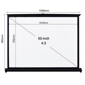 50 polegadas 4: 3 Tela do projetor Tela de mesa de mesa Manual Pull up dobrável projetando home theater para o projetor DLP1