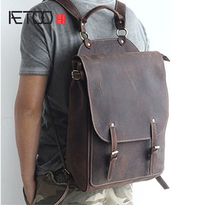 HBP AETOO New front cowhide retro leather shoulder bag men travel backpack Europe and the United States crazy horse leather