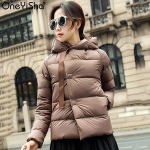Oneyisha 2020 Inverno Curta Jaqueta Mulheres Ultra Luz 90% Branco Pato Baixo Com Capuz Parka Feminino Casual Botão Coberto Outwear1