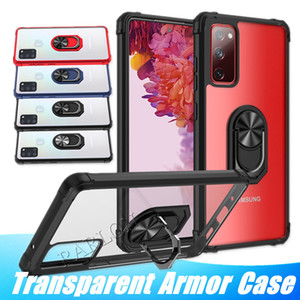 Transparent Armor Shockproof Phone Case Finger Ring Holder Cover Car Magnetic Anti-Fall Kickstand Case For Iphone 12 Pro Max LG Stylo 6 K51