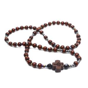 2 pcs homens miçangas de madeira cruz pulseiras meditação cadeia católica cristã