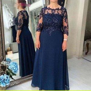 Элегантный шифон A-Line мать невесты платья плюс размер 3/4 рукава аппликации кружева матери платье формальные вечерние платья вечеринки