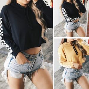 womens Hoodies Womens Hoodie Sweatshirt Jumper Crop top Sports Pullover Plaid Sweatshirts Drop Shipping Good Quality
