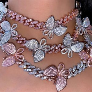 parking cz baguette Butterfly anklet jewelry 10mm iced out bling cz Miami cuban link silver color anklet women hiphop jewelry CX200704