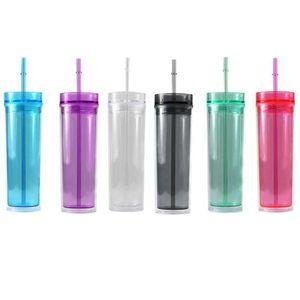 16 oz dünner acryl tumbler doppelwand isoliert klarer kunststoff tumbler mit deckel und stroh wiederverwendbarer Trinkwaren für party v01 130 g2