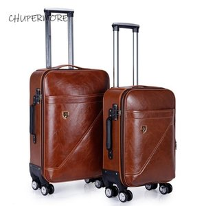 Chupermore marrone retrò in pelle PU rotolamento bagaglio spinner da 28 pollice alta capacità marca valigia ruota 20 pollici donne trolley di cabina LJ201119