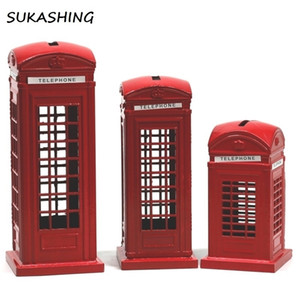 London Telephone Booth Red Die Cast Money Box Piggy Bank UK Souvenir Great Gifts for Kids Home Christmas Decoration 201127
