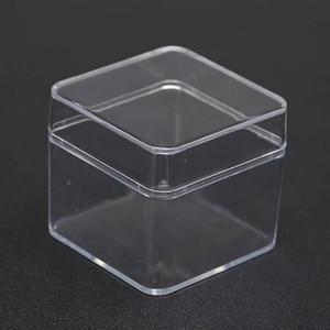 20pcs / lot Transparent Cube mariage bonbons boîte carrée en plastique PS Crystal Clear Coffrets cadeaux de Noël de bébé Douche Favors Display Box