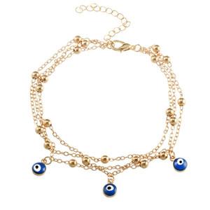 Bohemian ANKLET ALLIAGE BLUE EYEAUX Pendentifs Perles Chaîne Perles Chaîne Evil Eye Lady Bracelet Sandy Plage Chaude Vente 1 5zx K2B