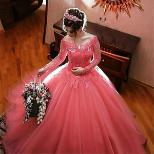 Princess Watermelon Ball Gown Quinceanera Dresses Long Sleeves Top Lace Appliques Beads Bateau Neck Prom Wear Sweet 15 Dress Engagement Gown