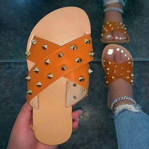 Summer Women Slippers Rivet Playa Sandalias Sandtake Print Enow Toe Shoes Zapatos para mujer Limpianas al aire libre Plataforma Femenino Flip.
