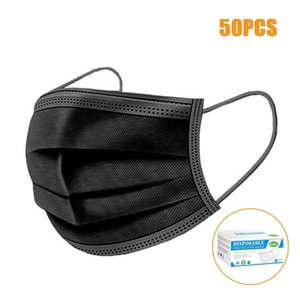 Usps 8~10Days 3-layer Black Blown Djqaj Free Face Mouth Masks Melt Mask Masks Cloth Disposable Disposable Earloops Mask Anti-Dust Cledn