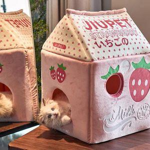 Casa de gato de la leche de plátano de la leche de la leche de fresa