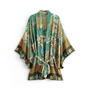 Boho Summer Beach Vintage Bird Bird Floral Print Sashes Kimono Women 2019 New Fashion Cardigan Ladies Blouses Casual Blusas Mujer Y19042902