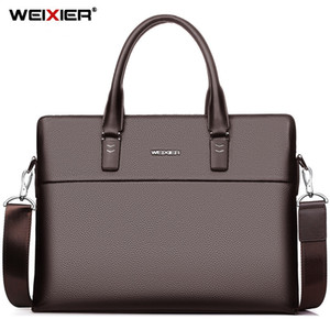 affari WEIXIER sacchetto messaggero di spalla del computer portatile di cuoio degli uomini della borsa