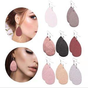 Hot Sale Pu Leather Teardrop Dangle Earring for Women Boho Double-side Waterdrop Earring Sliver Hook Drop Fashion Party Jewelry Gift -Y