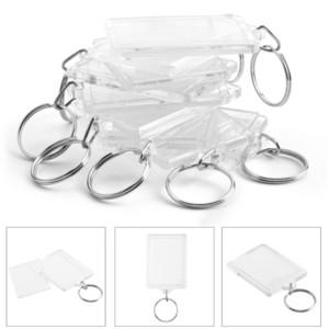 100pcs Photo Keychain rettangolo trasparente acrilico Blank Inserire Photo Picture Frame Holder portachiavi chiave fai da te Split Ring regalo