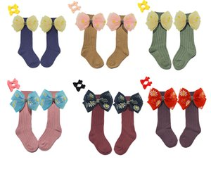 New Toddler Girls Socks Bows Beading Knee High Princess Socks For Girl Cute Newborn Baby Cotton Sock 0-7Y 2pair 4pcs