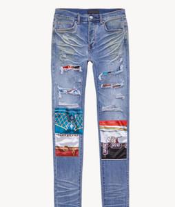 2020ss Bir Erkek Sıkıntılı Yırtık Biker Jeans Miri Slim Fit Motosiklet Biker Denim Pantolon Moda Tasarımcısı Hip Hop Erkek Kot Yüksek Kalite HQ07