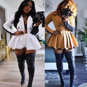 Revers-Farbblock enganliegende Faltenrock Blazer Kleid Langarm Plissee-Rock Pendulum beiläufige Frauen Designer-Kleid-Art-
