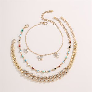 6Sets Lot Multi Layer Eye Butterfly Anklet Retro European Heart Barefoot Chain Women Rhinestone Colorful Anklets Jewelry Accessories